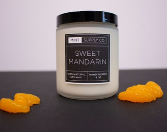 Home Decor, Sweet Mandarin, Housewarming Gift, Natural Candle, Summer Candle, Citrus Candle, 8 oz. Candle