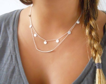 Silver Layered Necklace Set; Coins and Tube Necklace Set; Delicate Silver Layered Necklace Set; Silver Boho Neclace, Silver Tube Necklace