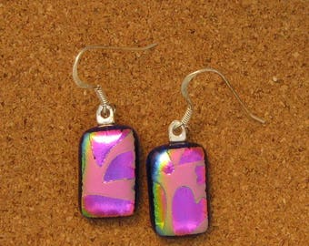 Dichroic Heart Earrings - Fused Glass Earrings - Valentine Earrings - Dichroic Jewelry - Fused Glass Jewelry - Dichroic Heart Jewelry