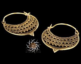 Brass Earrings - Brass Hoops - Gypsy Earrings - Tribal Earrings - Ethnic Earrings - Indian Earrings - Tribal Hoops - Indian Hoops (EB97)