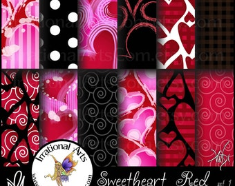 Sweetheart Reds set 1 - Digital Scrapbooking Papers - 12 jpg files 300dpi {Instant Download}