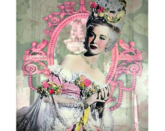 Marie Antoinette, digital print, baroque print, digital art, photomontage, fine art print, 1920 s movie star, Cinderella, Art Deco print