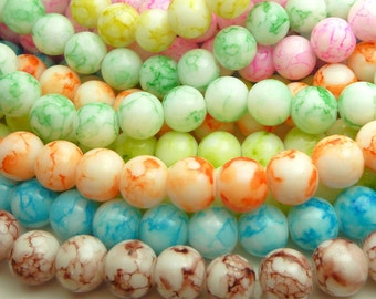 Mixed Color Round Glass Beads - 6mm Mottled, Mosaic, Bohemian Beads - 32pcs - BN24