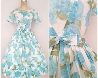 Vintage 1950s Dress / Aqua Blue Floral / Garden Party Dress / XS
