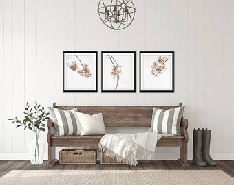 Modern Farmhouse Print Set, Set of 3 prints, Cottage Decor, Canvas Print Set, Beige white minimal nature art, wall decor, dried hydrangeas