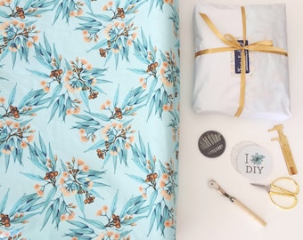 Change Mat Cover Gumnut Blossoms Australian Flora Peach & Duckegg Blue Floral. Linen Cotton Fabric by Thistle and Fox | Ships in 4-6 wks