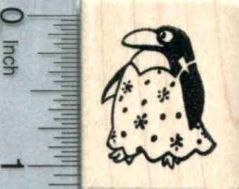 Penguin Rubber Stamp, Wearing Snow Dress D34015 Wood Mounted