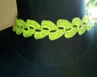 Ready to ship! Crochet choker Lace choker Green choker Crochet necklace
