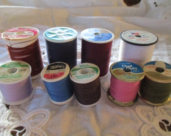 Vintage Sewing Thread  LOT 9 Spools Polyester, Cotton Covered polyester, Mercerized Cotton Assortment of Colors
