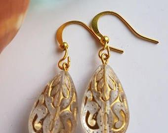 Gold Tear Drop Dangle Earrings