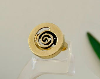 Gold pinky ring, circle jewel, spiral ring, little finger ring, unadorned band, brass jewelry, plain ring, minimal jewelry, adjustable ring