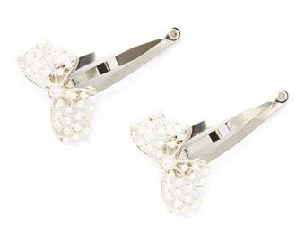 Two Bow Silver Snap Clips