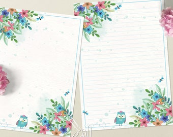 Friendly owl - DOWNLOAD file - Printable Writing paper - A5 size