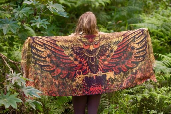 Wearable Art Black and White Owl Feather Bird Wings Pashmina Sarong Scarf, Totem Festival Shawl Gypsy Bohemian Clothing Nature Ajjaya Rave