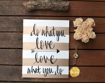 Gold Striped Canvas Wall Art Painting Custom Quote Art Love What You Do  Office Studio Wall