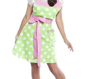 Flirty Aprons Women's Betty Lime Polka-dot