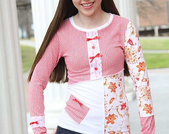 Red White Long Sleeve T Shirt Gingham Top Paisley Shirt Patchwork Fitted Tee Womens Artsy Clothing Retro Casual Top Everyday Shirt Plus Size