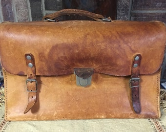Vintage Thick Cowhide Type Leather Briefcase or Attache Case