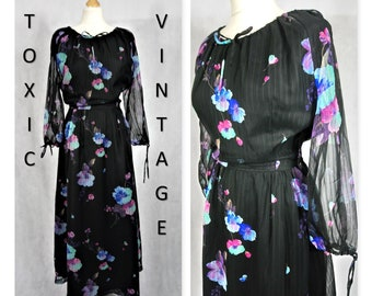 VINTAGE 1960's 1970's Black, Blue & Purple FLORAL Long Sleeve , Tie Neck Maxi Dress. Uk Size 14. Retro, Boho, Florence Welch, Pretty, Chic