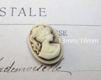 1 x cabochon resin cameo Lady Brown 13 x 18 mm