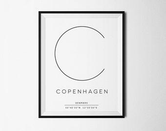 Copenhagen, Copenhagen print, Copenhagen poster, Denmark, Denmark print, Copenhagen Art, City Coordinates, Scandinavian Design, City poster
