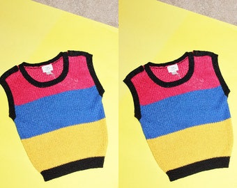 70s Color Block Knit Top / Chunky Stripe Sleeveless Vest / S Small