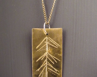 Necklace>>Brass Pendant>>Conifer>>Pennant>>Hand Cut