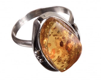 Amber Silver Ring | Ring Size 9.0 US