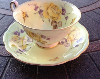 EB Foley Bone China Tea Cup and Saucer, Made in England, 1948-1963, Unusual Green Color with Yellow Roses, Griffin Mark, Fine Bone China.