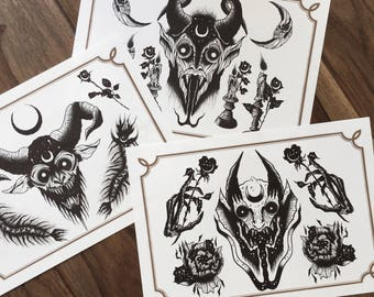 LIMITED Demons Sheets PACK - Tattoo prints 50/50 signed