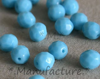 8mm (20pc) turquoise blue beads, blue czech glass beads, faceted beads 8mm