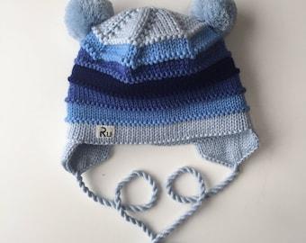 Earflap winter hat for kids Cute baby hat Merino wool hat Warm winter hat double pom pom hat Merino earflap hat