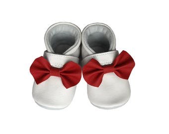 Leather Baby Booties, Ribbon Baby Shoes, Infant, Newborn, Nursery, Children, White