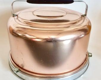 Vintage MIRRO Cake Carrier Locking Pink Aluminum Bakelite Handle MCM USA