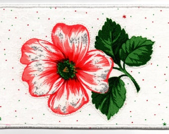 Christmas Hibiscus Quilted Fabric Postcard