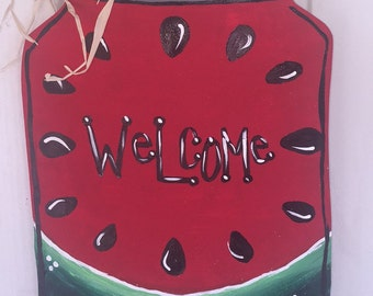 Watermelon Mason Jar Wooden door Hanger