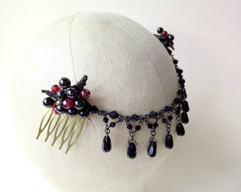 Hair Drape with vintage bead chain + beaded combs ~ Black & red ~ Gothic ~ Victoriana Steam Punk ~  Alternative Bridal ~ Hair Decoration