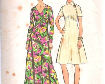 """Vintage 1973 Simplicity 5850 Dress in Two Lengths A LOOK Thinner Sewing Pattern Size 10 Bust 32 1/2"""""""