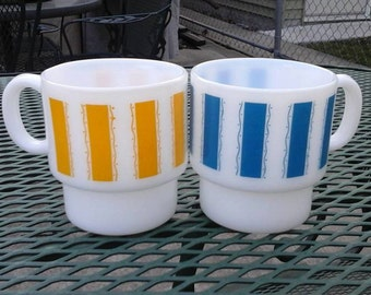Pair of Stackable Striped Milk Glass Mugs