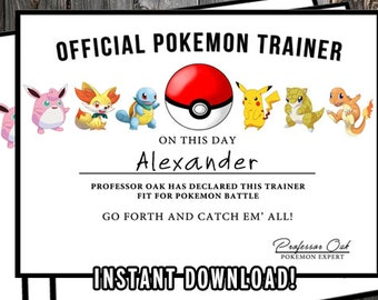 Pokemon Certificate, Pokemon Birthday Printable, Pokemon Birthday Favors, Pokemon Printables, Pokemon Party Favors, Pokemon GO, PDF & Jpg