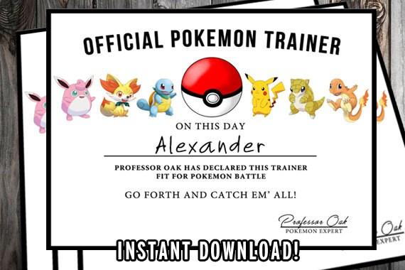 Pokemon-Zertifikat Pokemon Geburtstag druckbare Pokemon