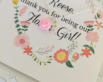 Personalized Flower Girl Necklace | Pink Flower Girl Necklace | Flower Girl Necklace | Gift for Flower Girl | Flower Girl Invite