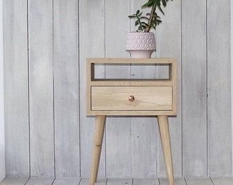 Solid Oak Bedside Table with drawer, Nightstand table, Bedroom furniture, natural wood furniture, Scandinavian Style NO-03-EH