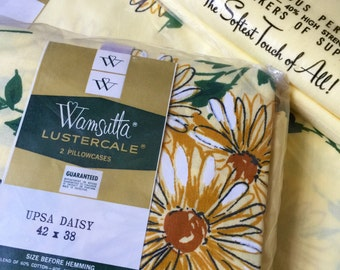 REDUCED Vintage 1960s Wamsutta Full Flat Sheet and Pillowcase NOS / Marigold Yellow Daisy Pattern / Farmhouse Country Cottage
