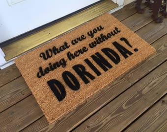 """Real Housewives of New York - """"What are you doing here without Dorinda?"""" door mat"""