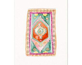 Boho Decor / Modern Wall Art / Hippie Art / Vintage Rug Watercolor Art / Modern Boho / Textile Art / Tapestry Painting