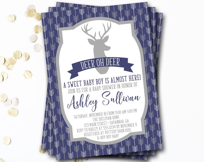 Deer Baby Shower Invitation, Deer Oh Deer Baby Shower Invitation, Deer Baby Shower Invite, Rustic Baby Shower Invitation, Antler Baby Shower