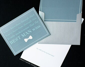 The Best Man Wins Card / Card from Groom to Best Man / Groomsmen / Will You Be My Groomsman / Mens Stationery / How to Ask your Best Man