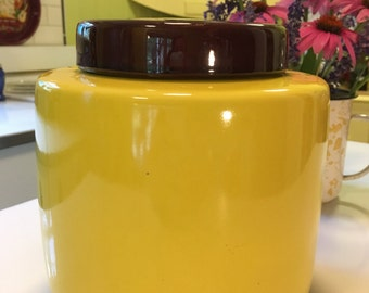 Vintage McCoy Pottery Cookie Jar # 214 Yellow with Brown Top mid century kitchen decor collectable