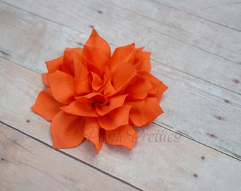 Orange Mini Flower Hair Clip, Small Flower Hair Clip,  Lotus Blossom,  With or Without Rhinestone Center